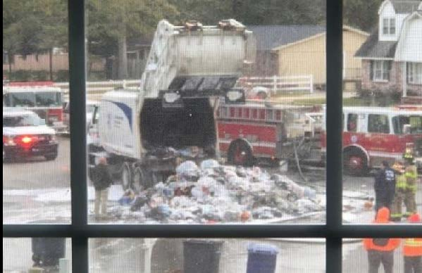 Trash truck fire caused by batteries