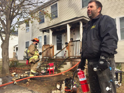 Fire extinguisher used to put out porch fire